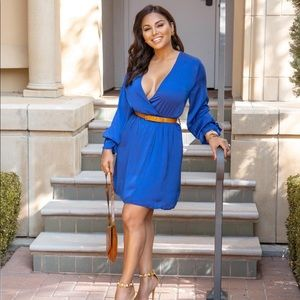 Satin Long Sleeve Dress- Blue!